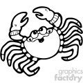 cartoon vector crab 003 bw