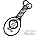 black white cartoon guitar