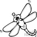black and white cartoon dragonfly