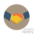 handshake circle background vector flat icon