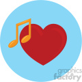 heart with music note blue background