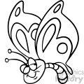 cartoon butterfly black white vector clipart