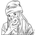 black and white female wearing n95 face masks vector illustration
