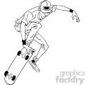 black and white cartoon skateboarder doing tricks vector illustration
