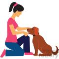 woman training dog vector clipart
