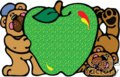 Two bears holding a green apple