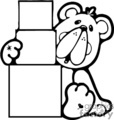Black and white cartoon bear stacking blocks