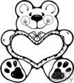 Black and white cartoon bear holding a heart pillow