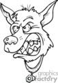 black and white cartoon angry dog