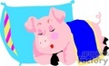 Cartoon pig sleeping with a pillow