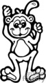 black and white outline of a monkey