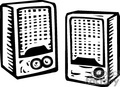 compu08b clip art business computers computer speaker speakers sound music gif, jpg