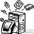 black and white computer parts vector