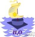 cartoon sailboat made from a cap and diploma gif, jpg