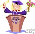female student giving a graduation speech wearing a cap and gown
