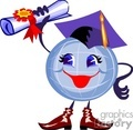 Cartoon globe wearing a cap and holding a diploma