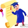 Cartoon student in a cap an gown standing next to a diploma