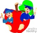 Two students holding diplomas coming out of an apple