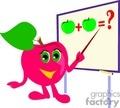 Cartoon pink apple teaching a math problem