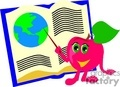 Cartoon apple pointing to the Earth in a book