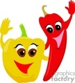 happy cartoon yellow bell and red cayenne peppers