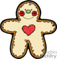 happy gingerbread man with a red heart