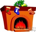 christmas fireplace with stockings hung