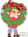 a little girl looking through a huge christmas wreath gif, jpg, eps