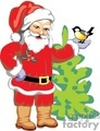 Sant Claus Holding a Small Bird by A Little Christmas Tree