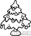 black and white christmas tree with happy ornaments