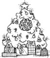 black and white christmas tree with gifts
