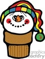 Happy Snowman Ice Cream Cone with Colorful Hat