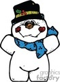 Happy Chunky Snowman with a Hat and a Scarf