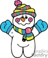 cartoon snowman wearing blue mittens