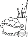 Black and White Easter Basket and Coloring Brushes