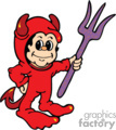 A little boy in a devil costume holding a purple pitch fork