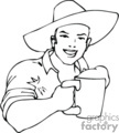 A Black and White Happy Man Wearing an Irish Hat holding a Mug of beer