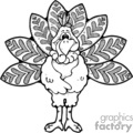 black and white cartoon naked turkey vector clip art image
