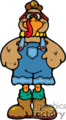 Turkey wearing pants and boots vector clip art image