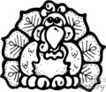 black and white turkey vector clip art image
