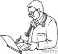 medical doctor doctors chart charts writing checkup   helth005_bw clip art medical  gif