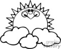 Black and white smiling sun rising above the clouds