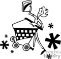 people shopping cart stores   pple006_bw clip art people  gif