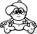 Black and White Little Baby Boy Sitting with a Diaper and A Ball Cap vector clip art image