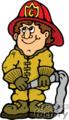 Fireman holding a water hose