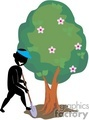 shadow people work working occupations digging tree trees shovel shovels   occupation043 clip art people occupations