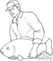 fishing fishermen fish   sport070_bw clip art sports fishing  gif
