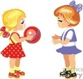 Two Little Girls Playing with a Red Ball