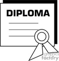 Black and white outline of a diploma certificate