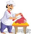 cartoon butcher cutting steaks